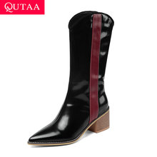 QUTAA 2020 Mid Calf Boots New Autumn Winter Pointed Toe Slip On PU Leather Fashion Square High Heel Women Shoes Size 34 43
