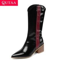 QUTAA 2020 średnio wysokie buty z cholewami nowa jesienna zima szpiczasty nosek Slip On PU Leather Fashion Square szpilki damskie buty rozmiar 34 43