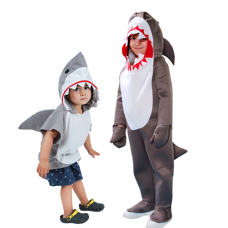 Cute Toddler Grey Shark Cosplay Halloween Costume For Kids Boys Sharks Jumpsuit Child Christmas Birthday Party Group Fancy Dress