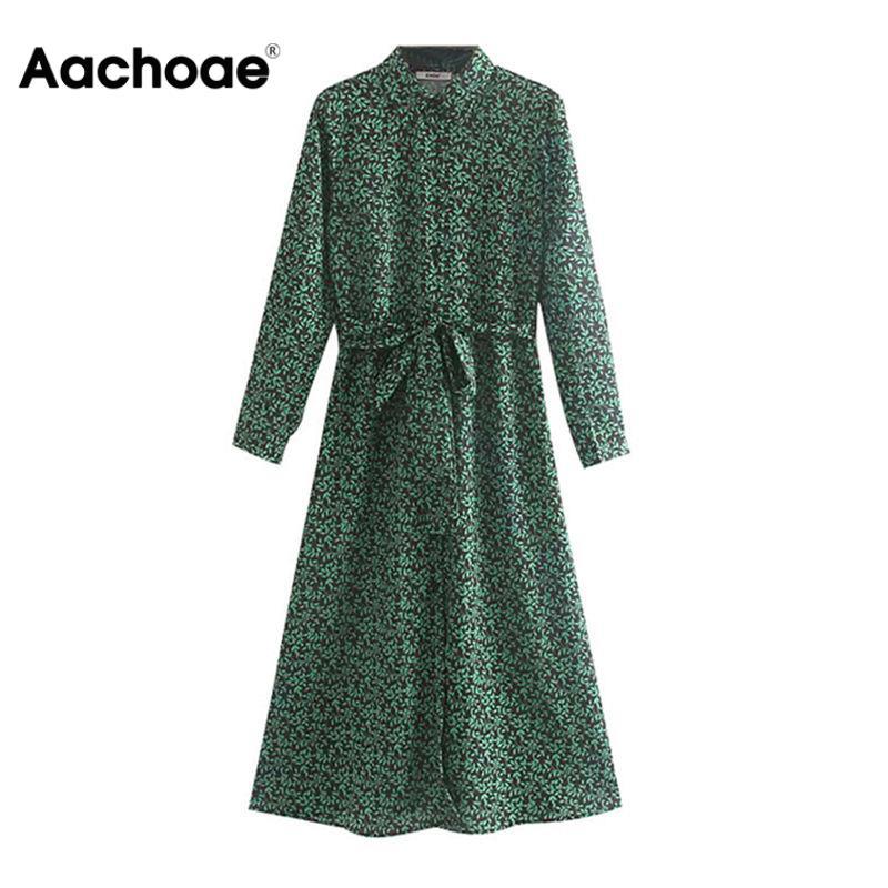 Aachoae Floral Print Long Shirt Dress Women 2020 Long Sleeve Split Casual Sashes Dress Turn Down Collar Office Dresses Vestidos