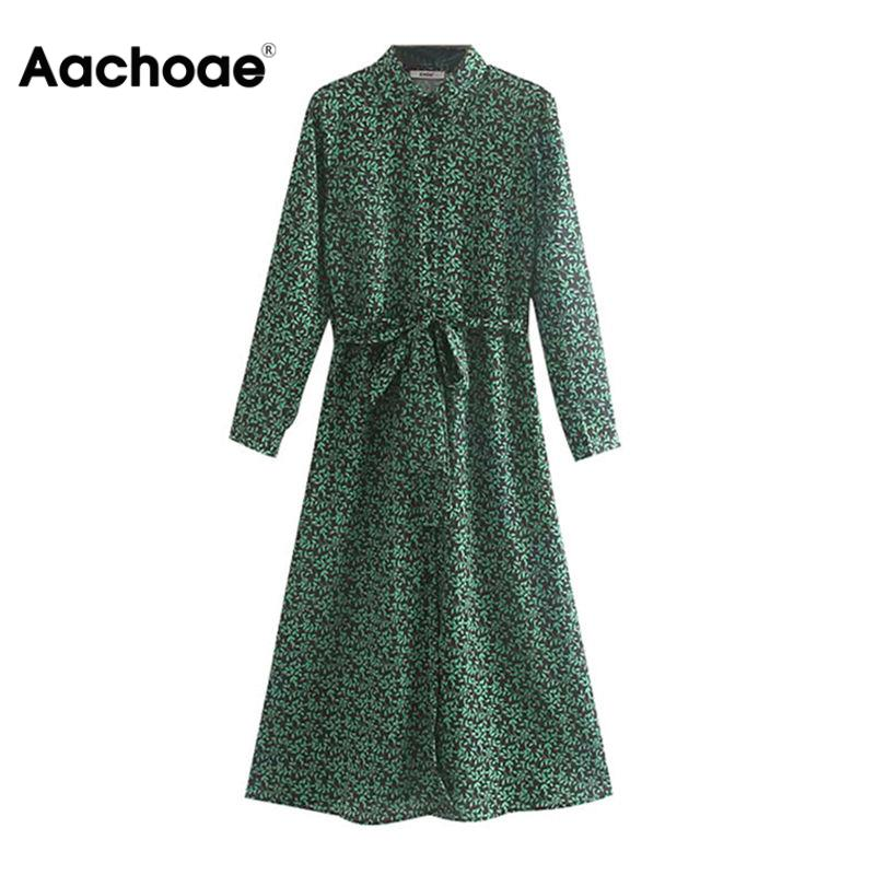 Vintage Floral Print Long Shirt Dress Women 2020 Long Sleeve Split Casual Sashes Dress Turn Down Collar Office Dresses Vestidos