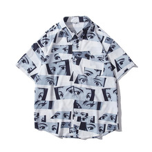 Men Shirt Short Sleeve 2021 New Arrival Summer Loose Male Shirt Thin Smiley Cartoons Japanese Style Comfortable S43