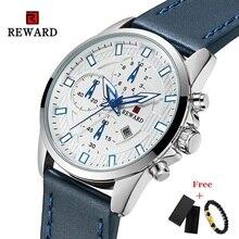 Новая мода мужские часы лучший бренд класса люкс награду большой циферблат дата дисплей мужчины кварцевые часы кожаный водонепроницаемый спортивные часы мужчины 2019