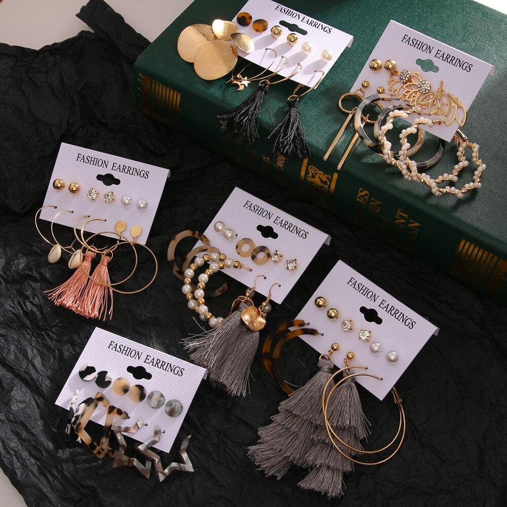 DAXI women's earings fashion jewelry earring unusual Drop Earrings For Women Boho vintage earing pearl earrings set 2020