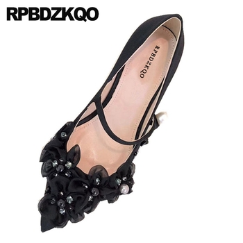 pointed toe stiletto black pumps thin metal heels flower scarpin satin sweet women shoes floral pearl mary jane high diamond