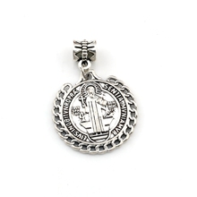 10pcs Antique silver Saint St Benedict de Nursia badge medal Dangle Charm Beads Fit necklace DIY Jewelry 25.5x37mm A-560a