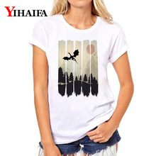 Harajuku Women T-shirt 3D Print Forest Graphic Tee Casual Tops Summer White T shirts Unisex O-Neck Short Sleeve цена