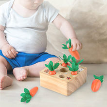Wooden Toys Baby Montessori Wooden Toy Set Pulling Carrot Shape Matching Carrot Harvest Shape Sorting Puzzle Cognition Education