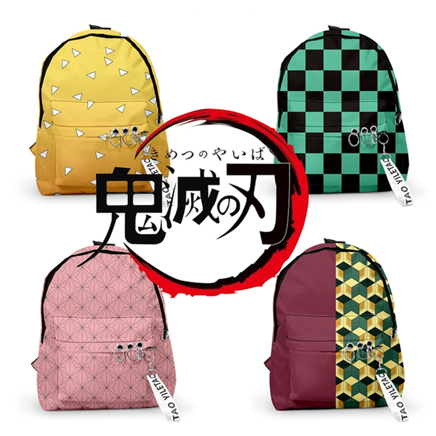 24Color Kimetsu No Yaiba Bag Demon Slayer Anime Cosplay Accessories Kimono Costumes School Student 3D Print Backpack