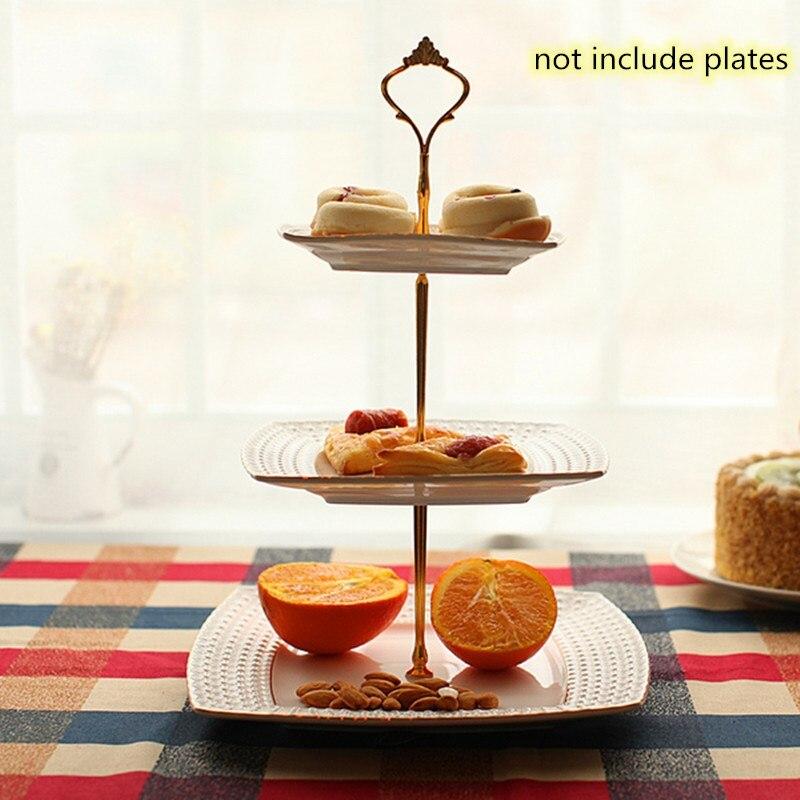 Металлический держатель для торта, подставка для торта, 2 уровня, фурнитура, 3 уровня, корона, металлическая пластина для торта, подставка для торта, вечерние, золотые, для дома, кухни, Аксессуары для выпечки - Цвет: 3 ayers gold