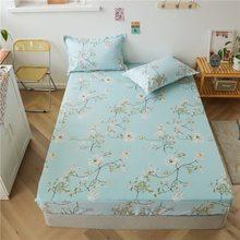Modne niebieskie liście łóżko dopasowane prześcieradła Sabanas pokrycie materaca z elastyczna mikrofibra 90*200*30*180*200*30cm