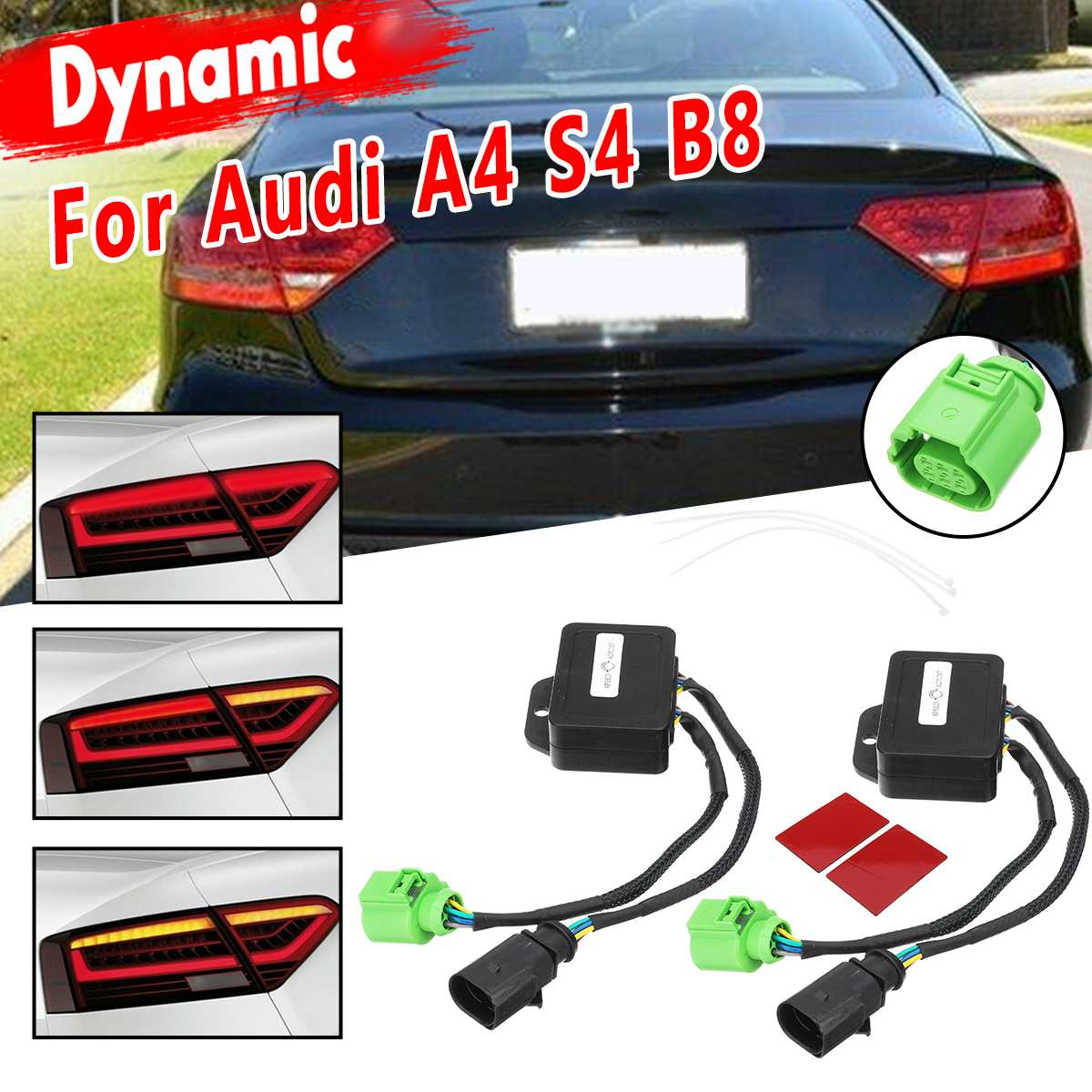 1 Pair Limo Semi Dynamic Taillights Turn Signal Indicator LED Taillights Module For Audi A4 S4 B8 2012-2018 Sedan