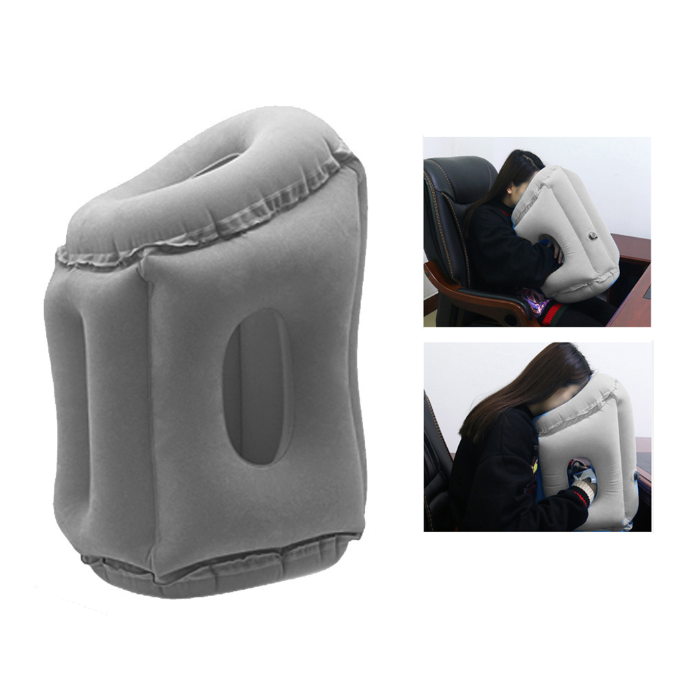 Portable Inflatable Air Pillow Headrest Body Back Travel Support Cushions for Airplane Car Office Rest Foldable Neck Pillows image