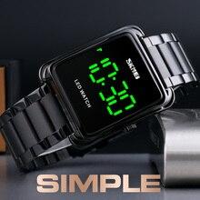 SKMEI złoty zegarek LED Digit Watch mężczyźni wodoodporny data Digit zegarki na rękę człowiek ze stali nierdzewnej stalowy pasek cienki zegar elektroniczny moda