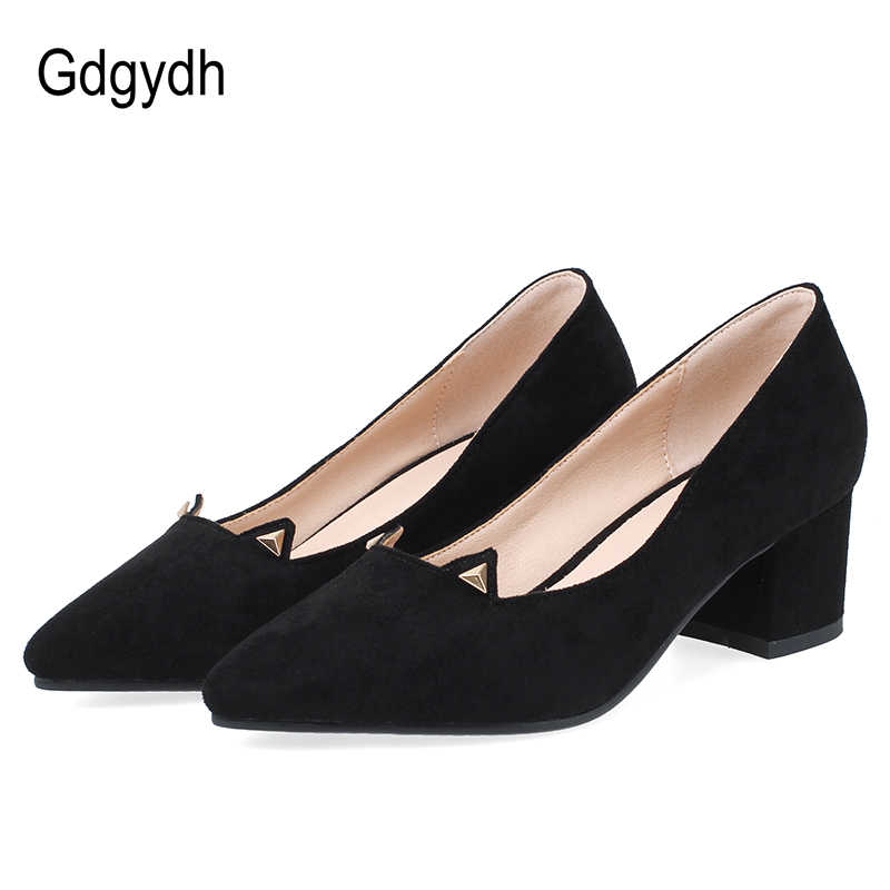 Gdgydh ฤดูใบไม้ผลิฤดูร้อนชี้ Toe Office ปั๊มรองเท้าส้นสูงผู้หญิงปั๊มรองเท้าส้น Suede สีดำ Beige ขายส่งขนาดใหญ่ 43