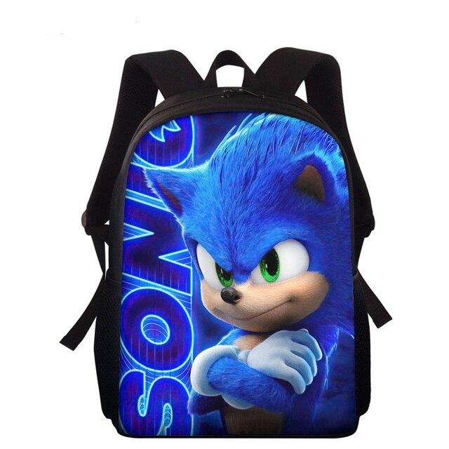 Animal Hedgehog Printed School Bags Blue Sonic Cartoon Book-bag Preschool Nursery Kids Backpack for Boys Mochila