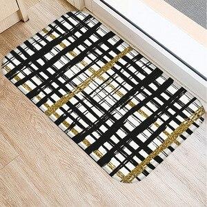 Image 5 - 40 * 60cm Stripe Paint Floor Mat Non slip Suede Carpet Door Mat Kitchen Living Room Floor Mat Home Bedroom Decorative Floor Mat.