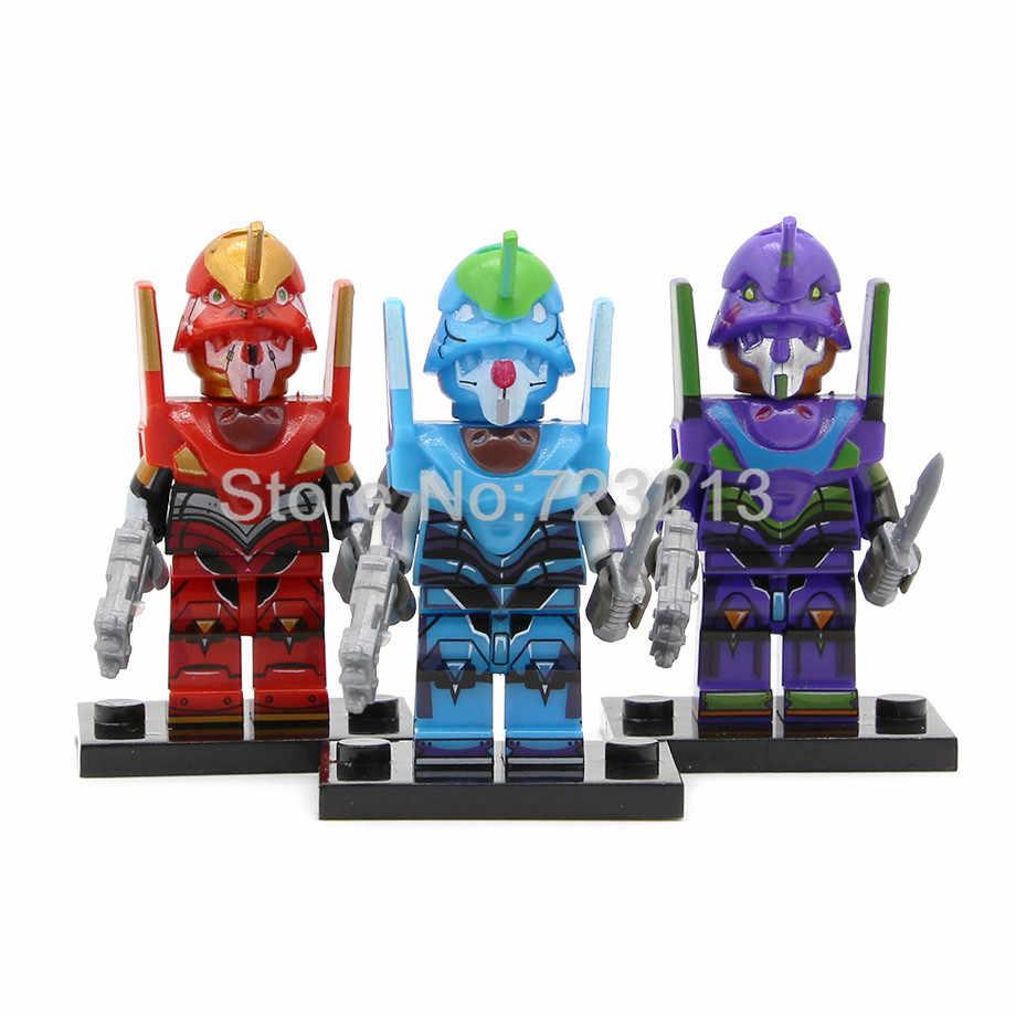Single Dijual Kartun Eva Gambar Evangelion EVA00 Prototipe EVA-2 Produksi Model Blok Bangunan Batu Bata Mainan Legoing