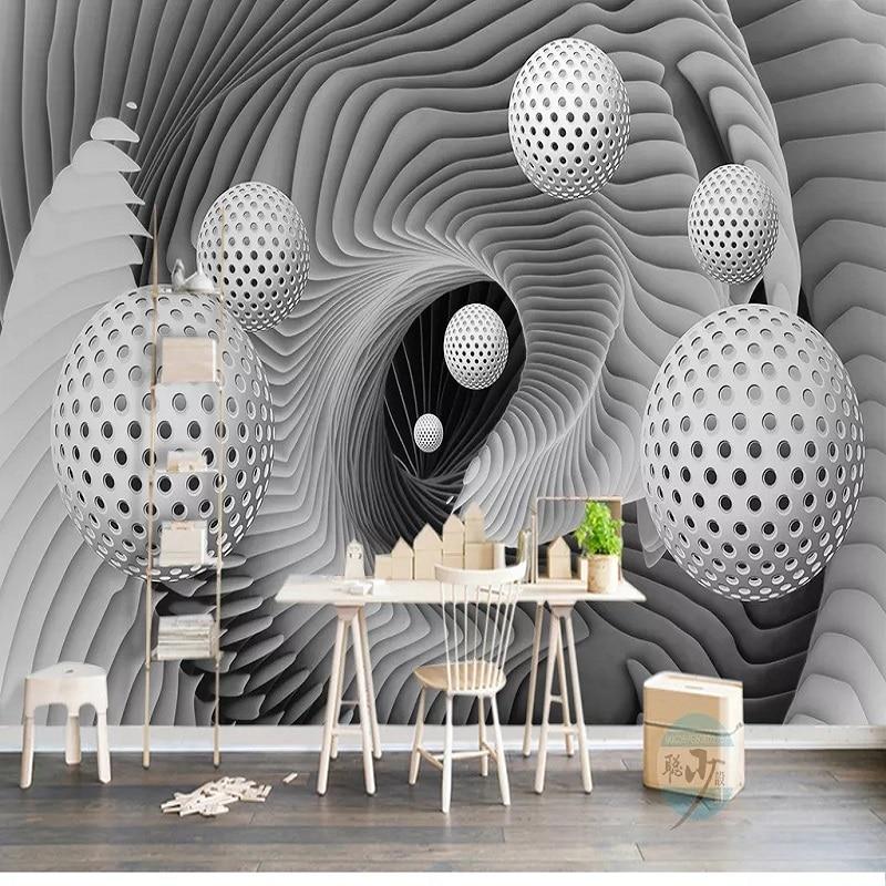 Custom Large Mural 3D Wallpaper Modern Creative 3D Extended Geometric Sphere Living Room  TV Back Wall Decor Deep 5D Embossed