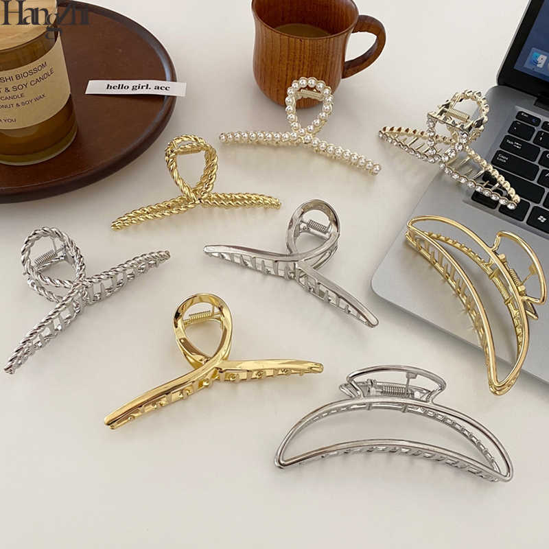 HangZhi 2020 New Korean Large Crab Claw Hair Clip Rhinestones Pearl Metal Intersect Hair Clamps for Women Hair Accessory