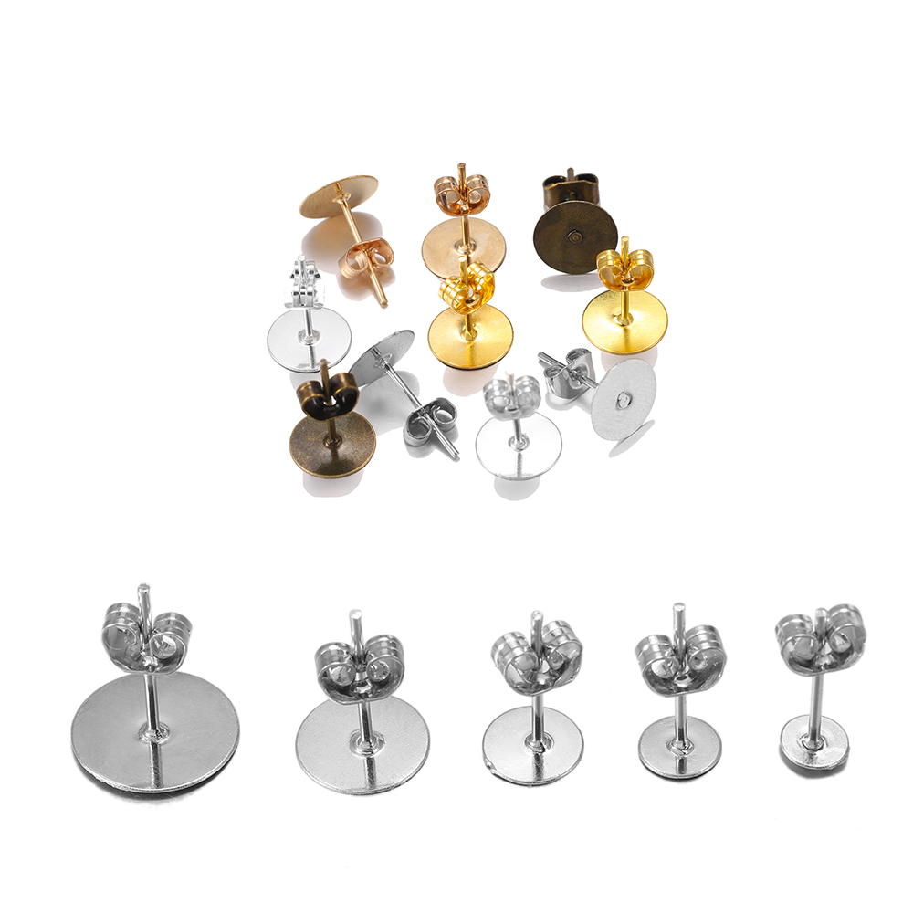 100pcs/lot Silver KC Gold Stud Earring Blank Base With Earrings Plug Findings Fit Cabochon Cameo Settings For DIY Jewelry Making