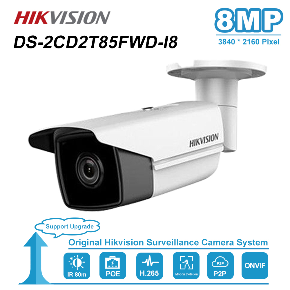 Hikvision 8MP(4K) Bullet IP Camera PoE Outdoor Night Vision IR Distance 80M CCTV Security Surveillance H.265 DS-2CD2T85FWD-I8
