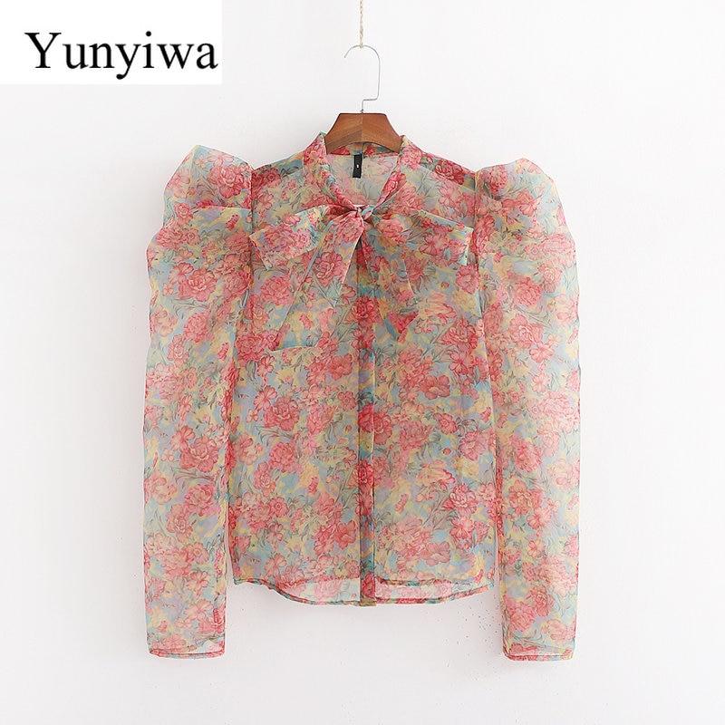 2020 New Long Sleeve Flower Printed Sheer Hard Yarn Shirt Womens Blouse Tops Casual Vintage Shirts Clothes Blusas Camisas Mujer