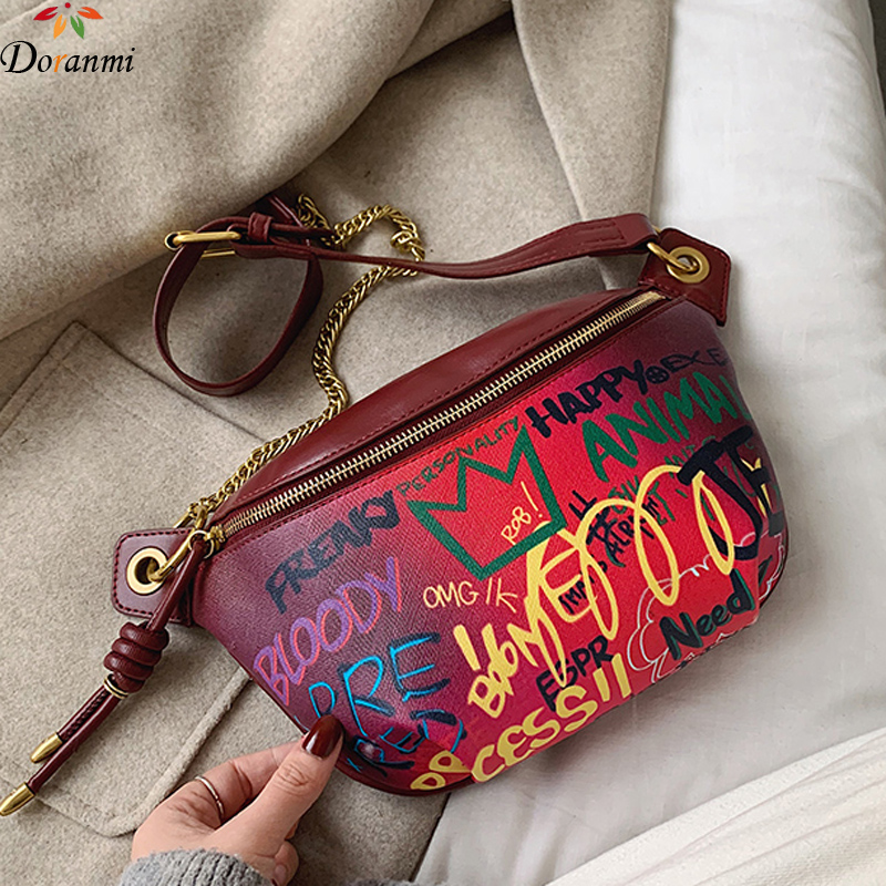 DORANMI Letter Printed Waist Bag Women's Fanny Pack 2020 New Luxury Brand Designed Waist Pack Female Crossbody Chest Bags BG462