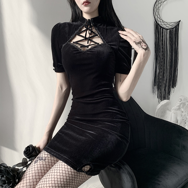 Hdc7ed885e528473c95e4559ee8f58c3c7 - InsGoth Retro Bandage Black Short Sleeve Mini Dress Women Gothic Streetwear Female Dress Elegent Vintage Party Dress