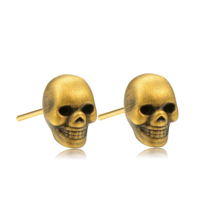 2019 Punk Hiphop Rock crâne squelette 999% 24K vrai vrai solide véritable or AU999 boucles d'oreilles pour hommes mâle fête Valentine cadeau