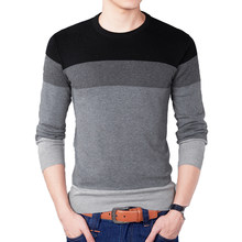 2019 Autumn Fashion Brand Casual Sweater O-Neck Striped Slim Fit Mens Sweaters Pullovers Men Pull Homme Contrast Color Knitwear(China)