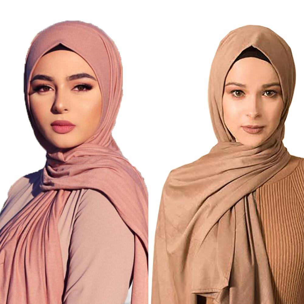 New Muslim Hijab Islamic Women Muslim Hijabs Scarf Elastic Jersey Scarf Cotton Soft Shawls Plain Scarves