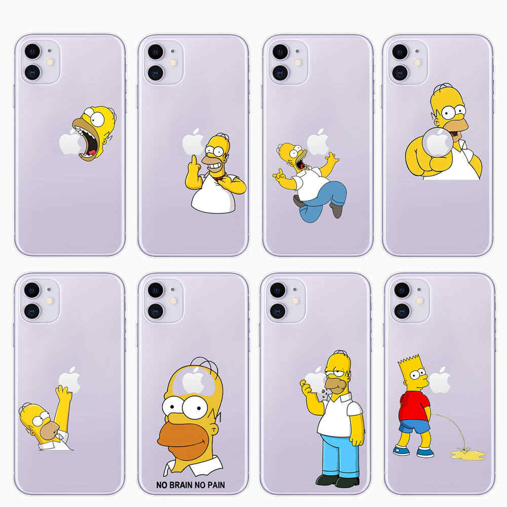 Cute Funny Homer J. Simpson Phone Case For iPhone 11 Pro 5 5s SE 6 6s 7 8 Plus X XR XS MAX Cartoon Silicone Phone Cases Cover