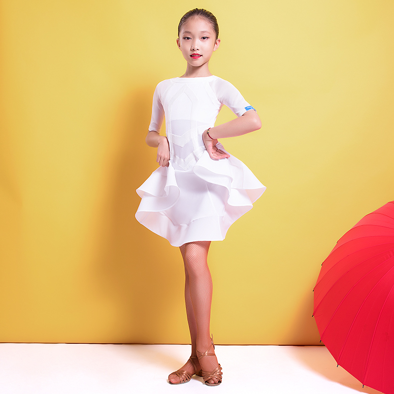 Ballroom Short Sleeve Ruffle Latin Dance One-piece Dresses For Little Girl/children Dancers , Costume Performance Wears G3273