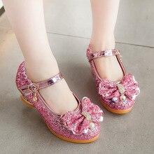 Party Sandals Glitter Dance-Shoes Princess-Dress High-Heels Girls Kids Fashion Crystal