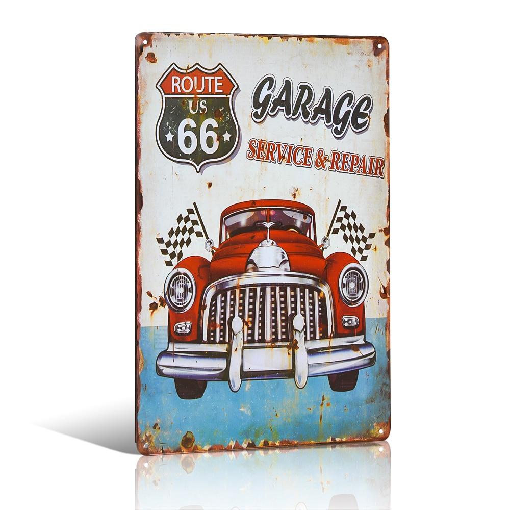 Autoservis a opravy Kovová cínová značka Route 66 Retro Rustikální nástěnná plaketa Garážové plakáty Home Cafe Wall Decor
