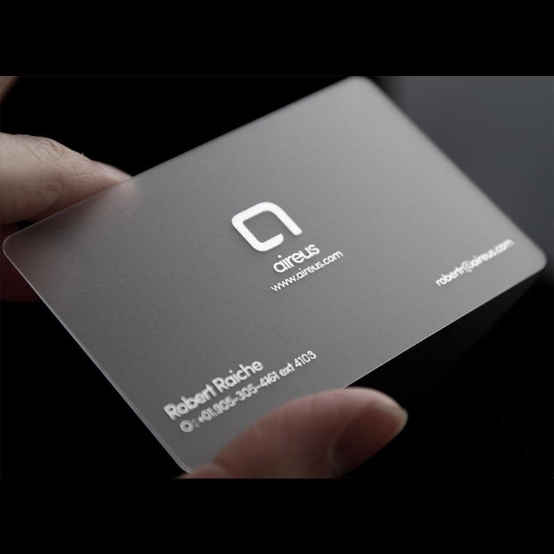 100pcs/200pcs/500pcs/lot custom Transparent PVC visit cards Customized clear/frost Business Card printing 3