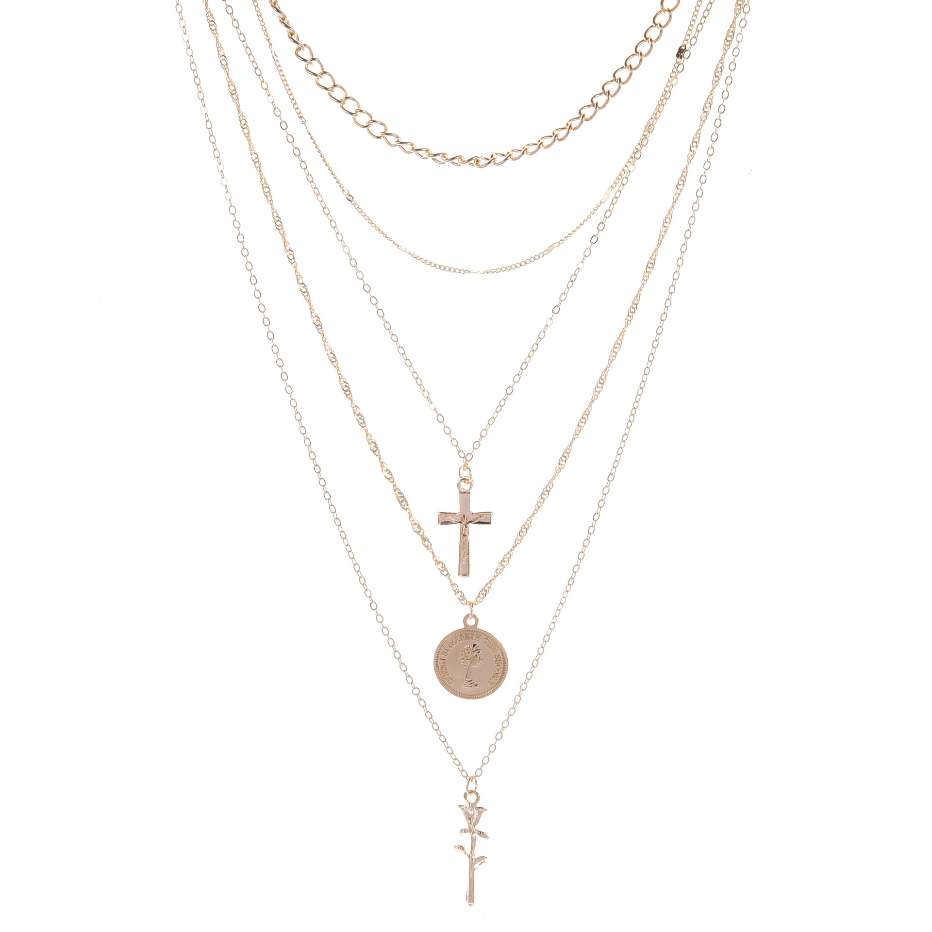 ZILPOIT Vintage Gold Silver Cross Rose Flower Pendant Necklaces for Women Girl Floral Layered Heart Necklace Bohemia Jewelry 4
