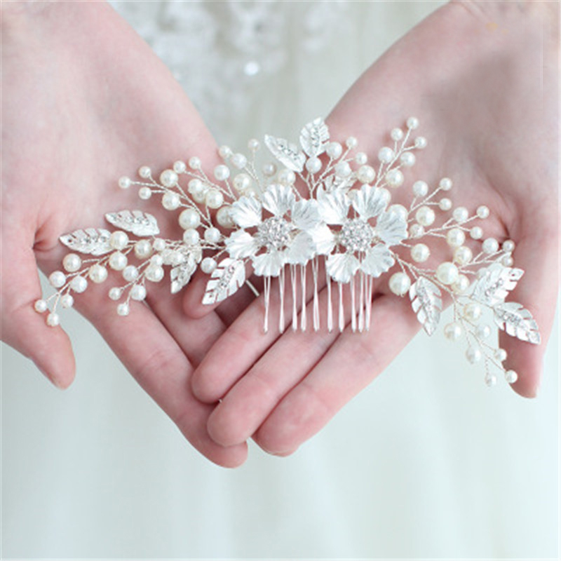 Trendy Crystal Pearl Hair Combs Leaf Floral Hairpin Bridal Beads Headband Tiaras Wedding Jewelry Accessories for Bride Statement