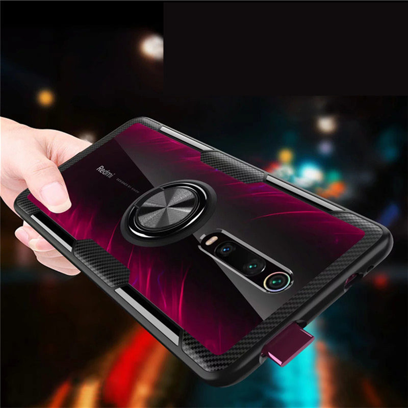 Tempered Glass Case For Xiaomi Redmi K20 / K20 pro Transparent Clear Armor Cover For Mi 9T Mi9t Magnetic Car Ring Holder Coque image