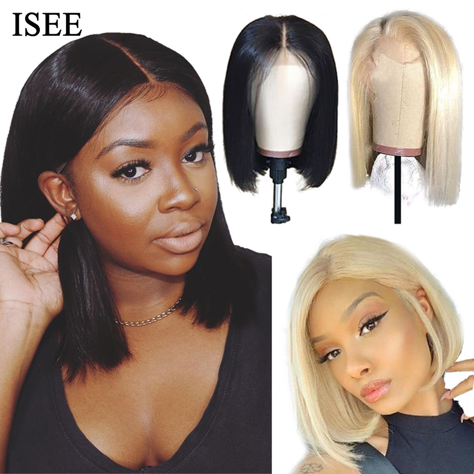 Straight Bob Lace Front Wigs Pre Plucked Hairline ISEE HAIR Short Human Hair Wigs Brazilian Straight Blonde 613 Lace Front Wigs