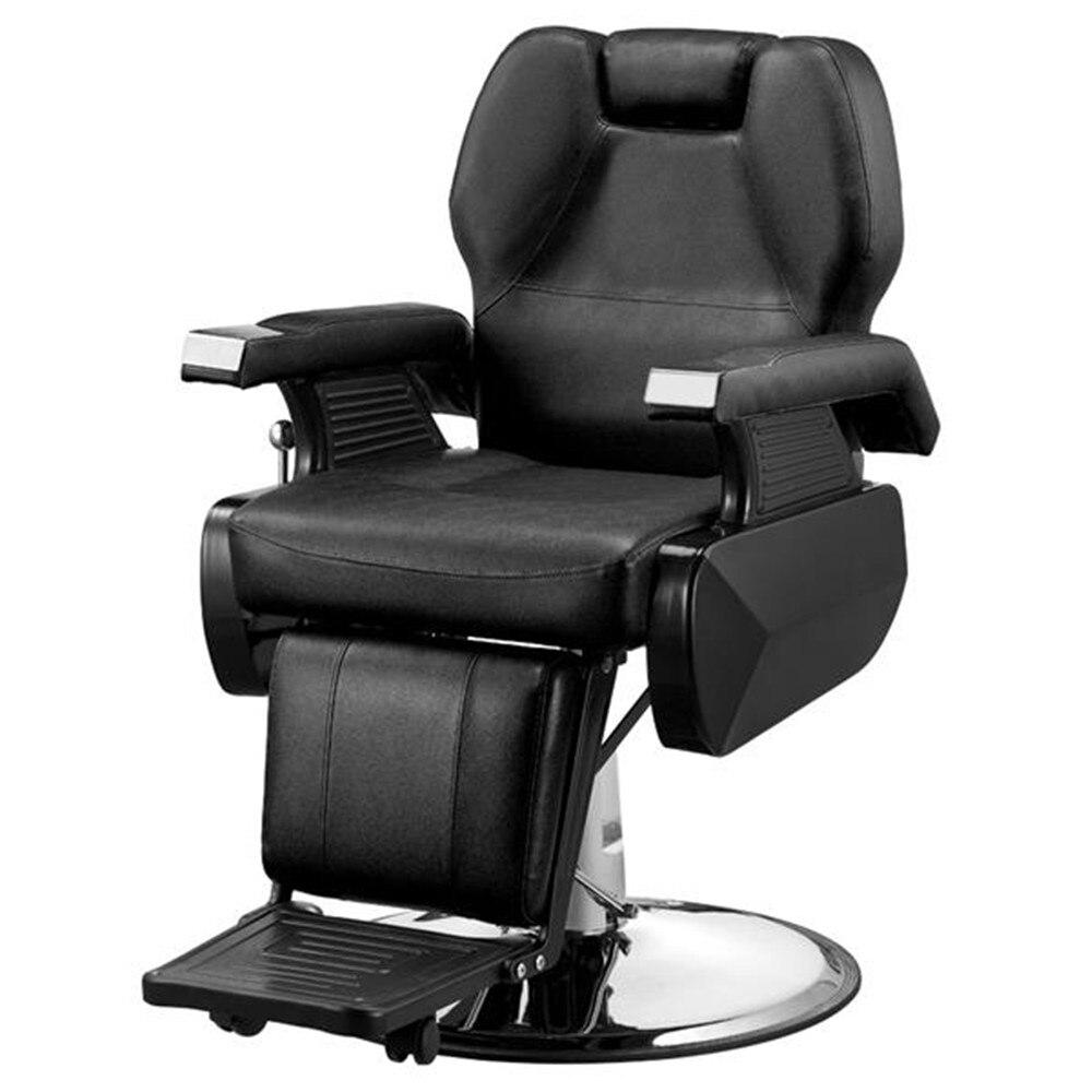 Купить с кэшбэком High Quality Classic Hydraulic Recline Hair Salon Iron Leather Sponge Barber Chair Black Adjustable back for barbershop