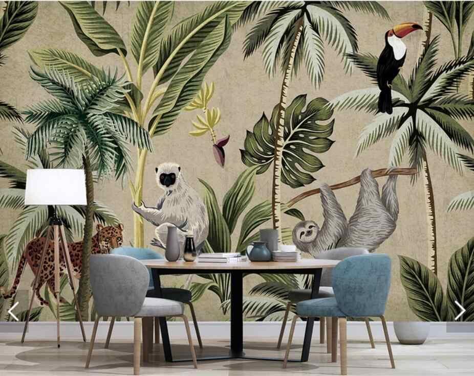 Azja południowo-wschodnia tukan małpa tropikalna tapeta ścienna do salonu ręcznie malowany papier przylepny murale tapeta 3d dostosuj