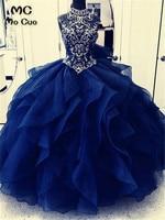 Puffy Ball Quinceanera Dress Prom Dresses vestidos de 15 anos sweet 16 dresses High Neck Royer Blue Beaded Quinceanera Dresses
