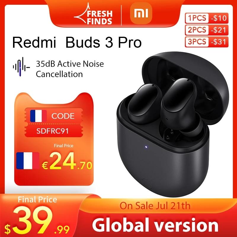 World Premiere Xiaomi Redmi Buds 3 Pro TWS Bluetooth Earphones Wireless headphones 35dB ANC Dual-device  Redmi Airdots 3 Pro