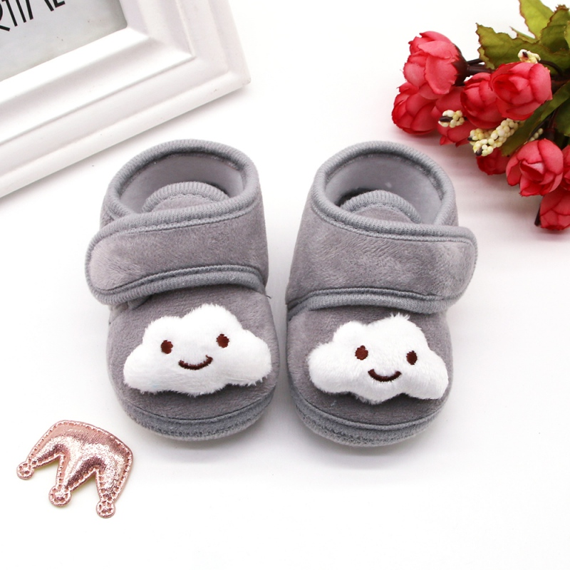 Newborn Cartoon Print Anti-Slip Cotton Plush Shoes Toddler Soft Soled Winter Warm Crib Shoes Baby Boys Girls First Walke Shoes
