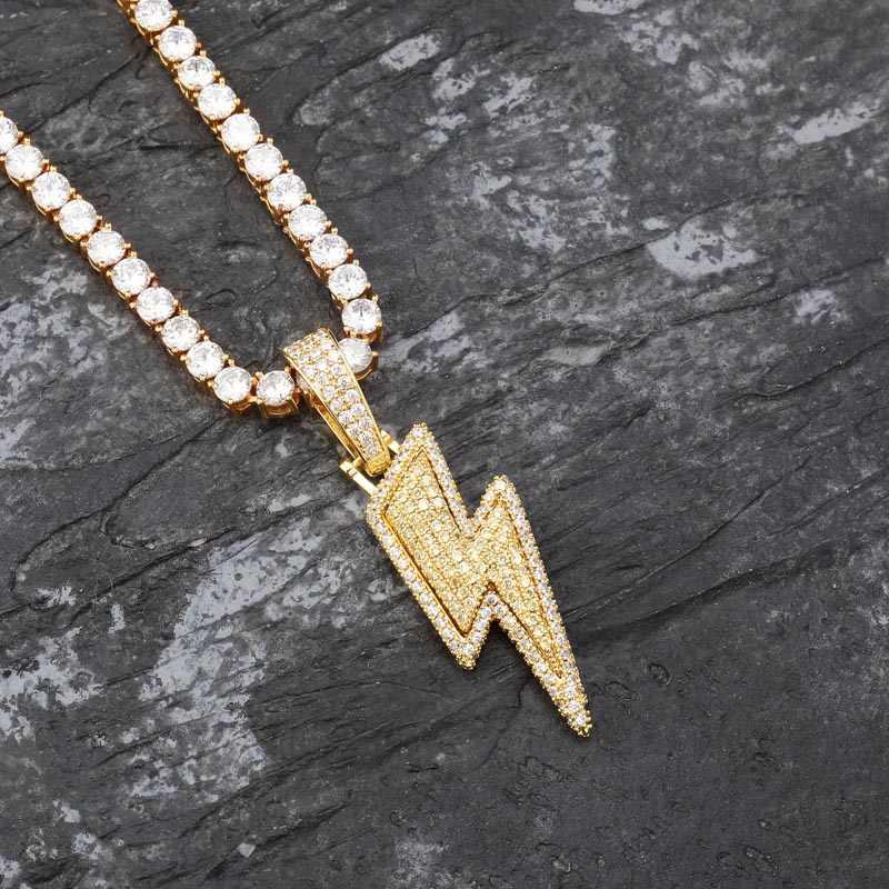 TOPGRILLZ Iced Out Bling błyskawica wisiorki z łańcuchem tenisowym materiał miedziany aaa sześcienne cyrkon męski hip hop biżuteria prezent
