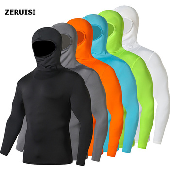 Solid color hooded motorcycle Jersey tight compression Quick drying men's shirt sports Cycling Male Tshirt Pullover Hoodies Tops - discount item  10% OFF Tops & Tees