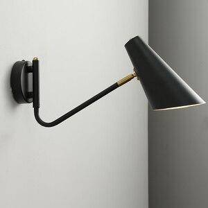 Image 1 - 北欧の古典的な調整可能な現代の産業ロングスイングアーム黒壁ランプ燭台ヴィンテージ E27 ライト浴室の寝室のため玄関