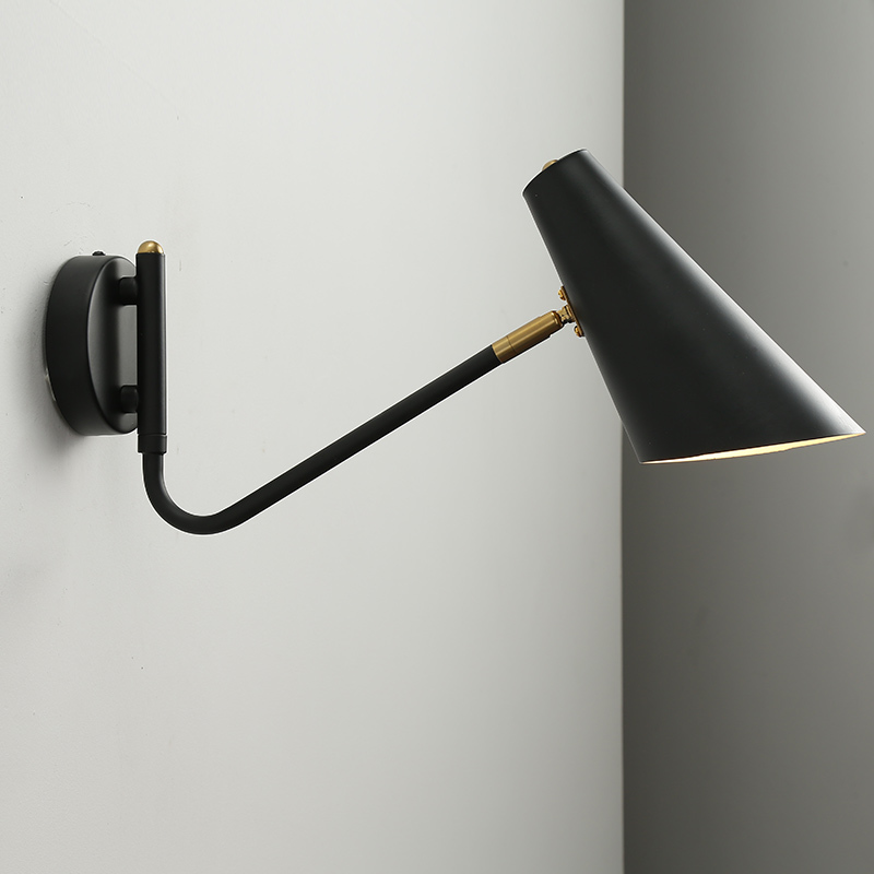 Nordic Classic adjustable modern industrial Long swing arm black wall lamp sconce vintage E27 lights for Bathroom bedroom foyer-in LED Indoor Wall Lamps from Lights & Lighting